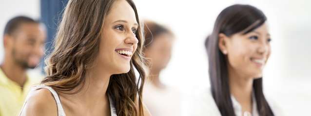 stock photo of girl smiling in class